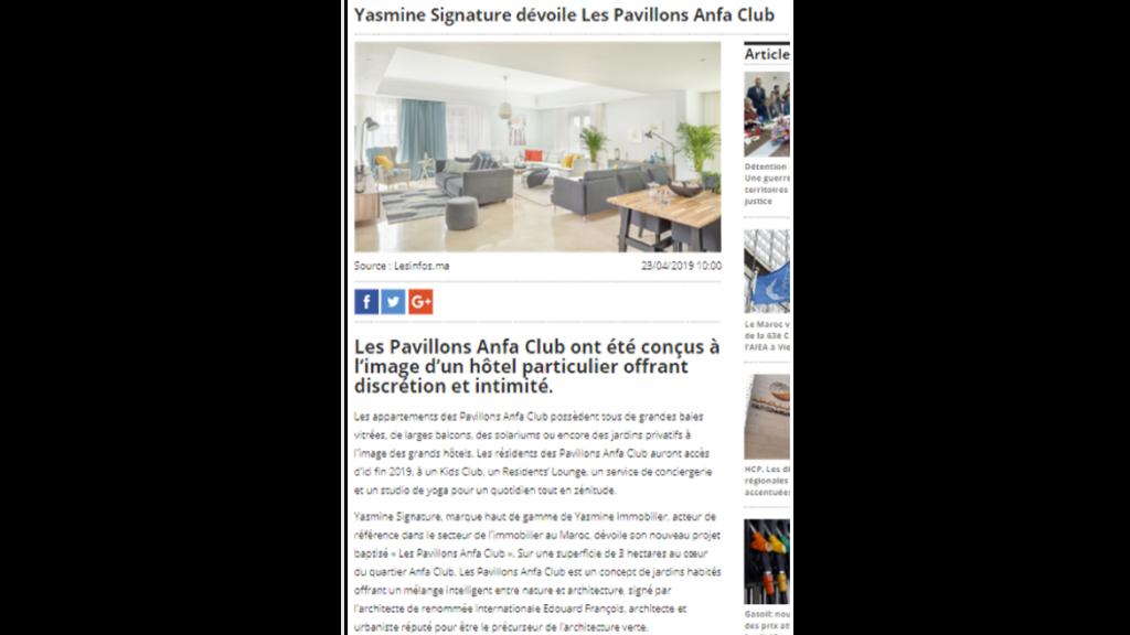 Yasmine Signature dévoile Les Pavillons Anfa Club